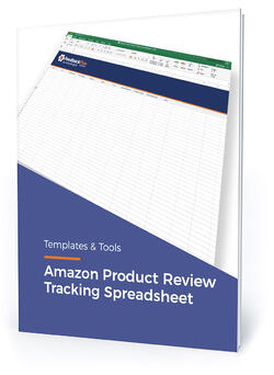 """Template cover with text, """"Amazon product review tracking spreadsheet"""""""