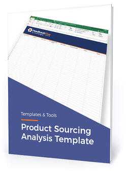 """Template cover with text, """"Product sourcing analysis template"""""""