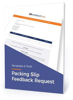 "Template cover with text, ""Packing slip feedback request"""
