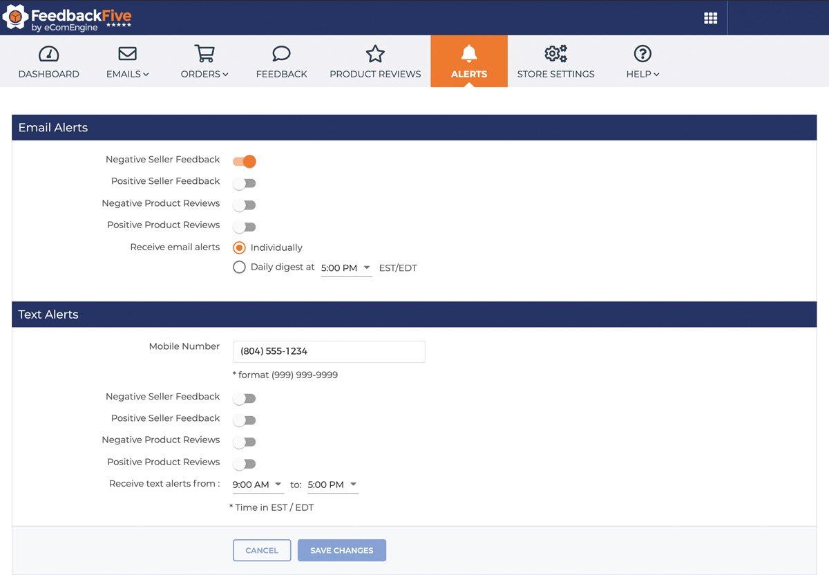 feedbackfive-alerts-screenshot