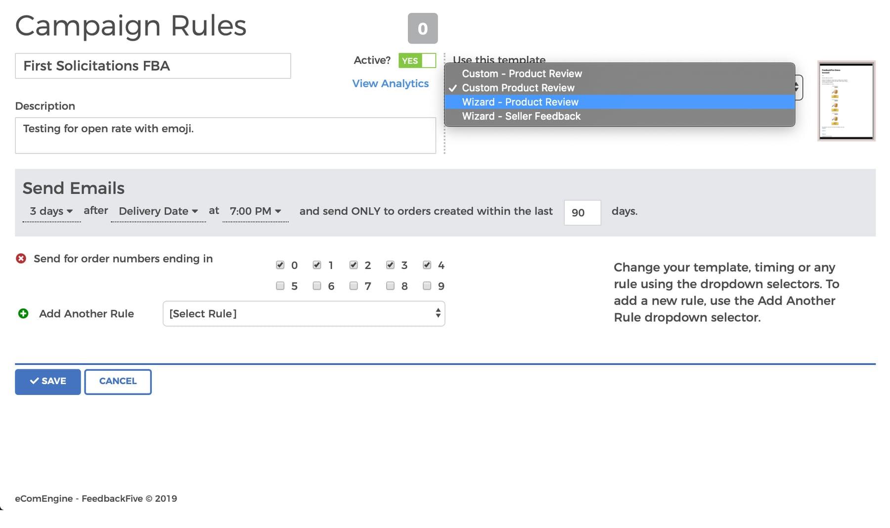 feedbackfive-campaign-dropdown-screenshot