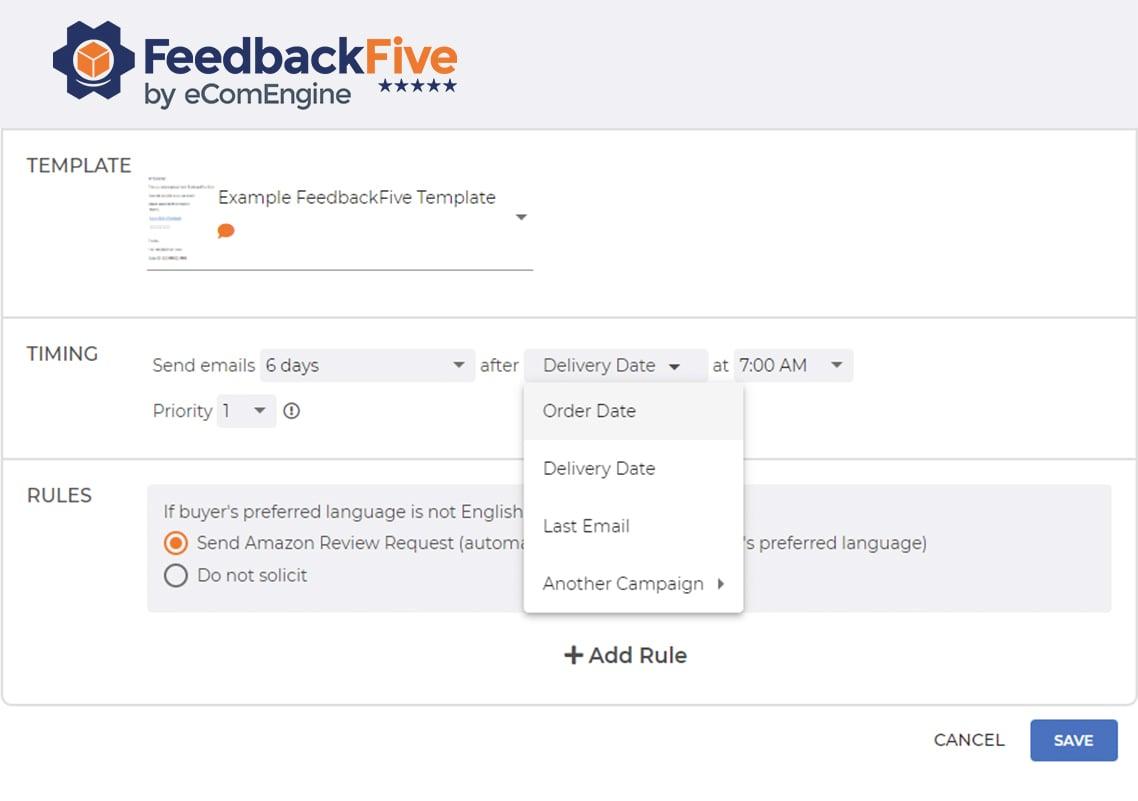 feedbackfive-email-timing-dropdown-screenshot
