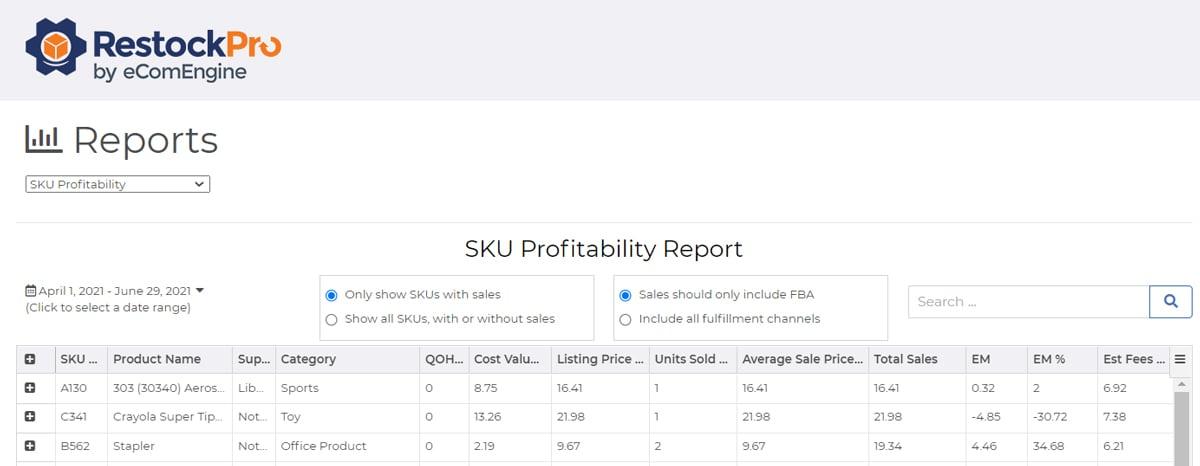 restockpro-sku-profitability-report-screenshot