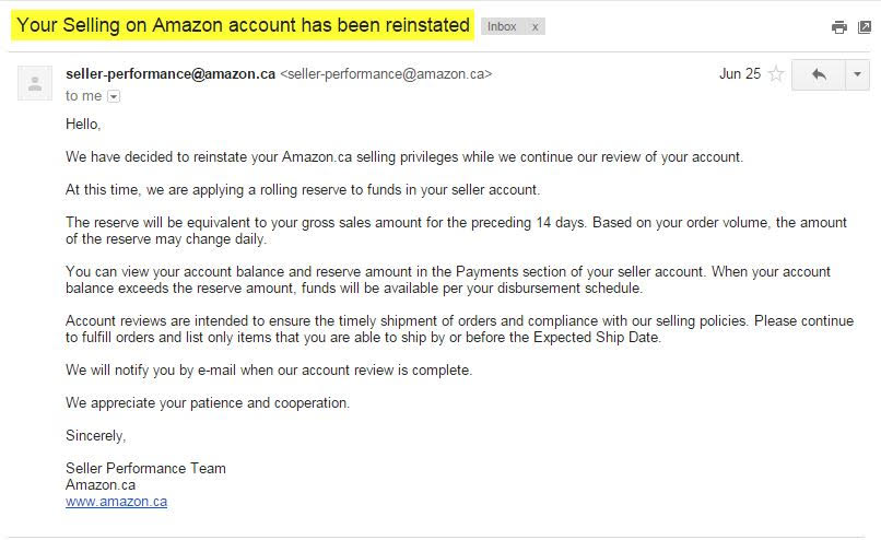 Seller Central account reinstatement email