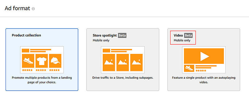 Screenshot showing format options for Amazon advertising