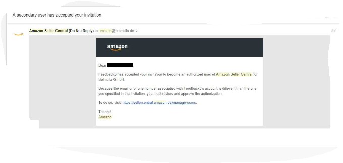 Amazon approve authorization email for adding a new Seller Central user