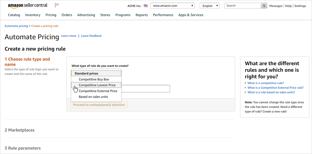 Screenshot of create a new pricing rule page in Amazon Automate Pricing