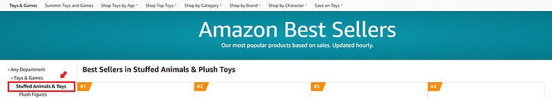 Amazon Best Sellers in Stuffed Animals and Toy subcategory