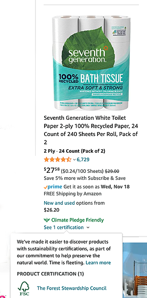Image of product listing for Seventh Generation recycled bath tissue with Amazon Climate Pledge Friendly badge