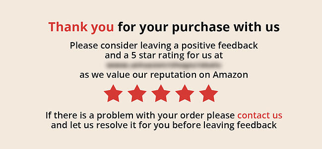 Non-compliant Amazon product insert with five stars