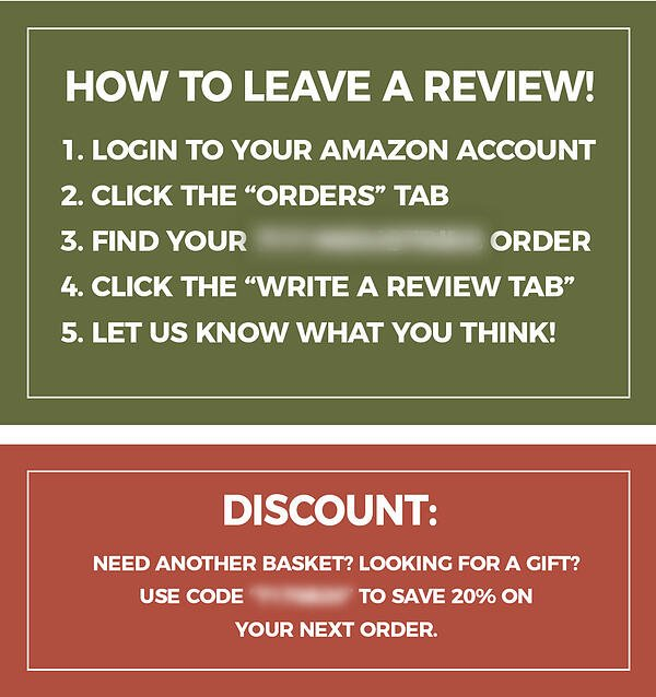 Amazon product insert offering discount with review instructions