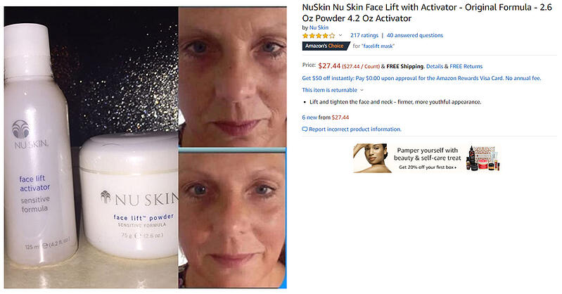 Screenshot of Amazon product listing example for facelift mask