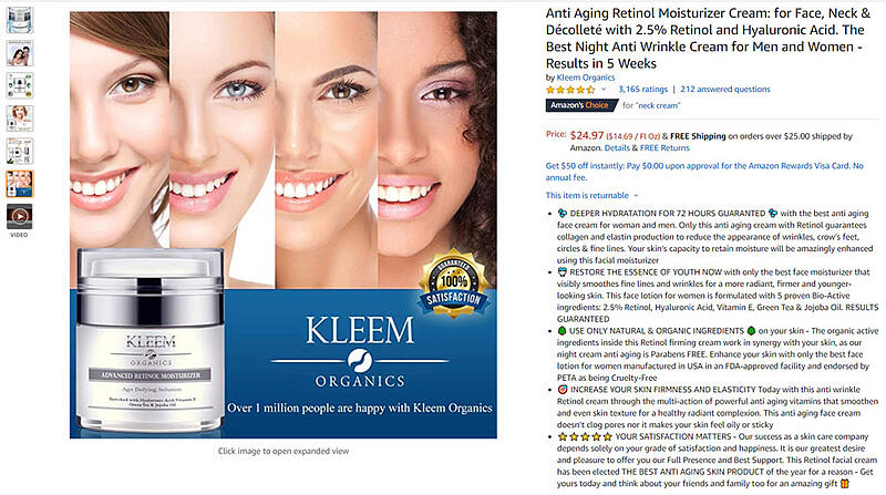 Screenshot of Amazon product listing example for neck cream