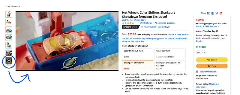 Screenshot of a listing showing Amazon product video placement