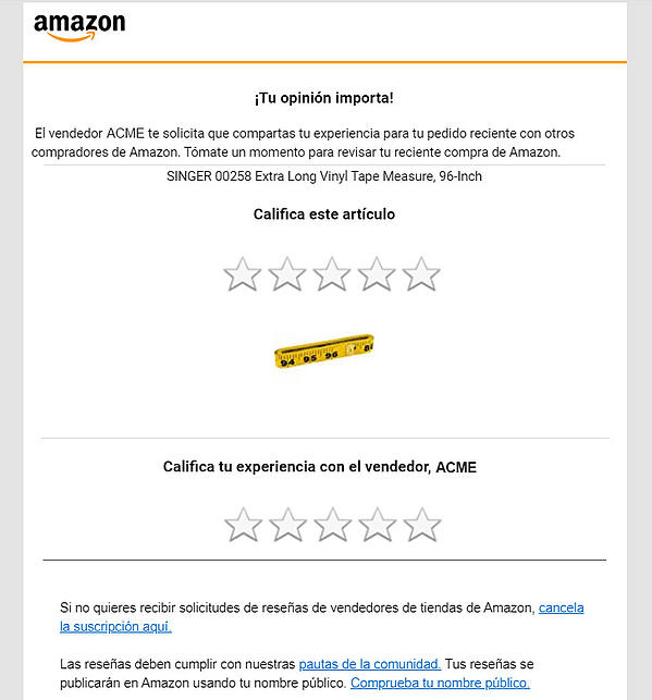 Amazon Request a Review email in Spanish