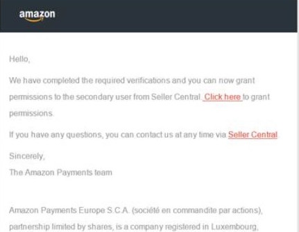 Amazon email confirming the granting of permissions for secondary users