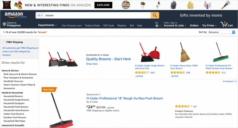 Broom with Amazon Best Seller badge