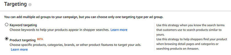 Ad targeting options for Sponsored Products