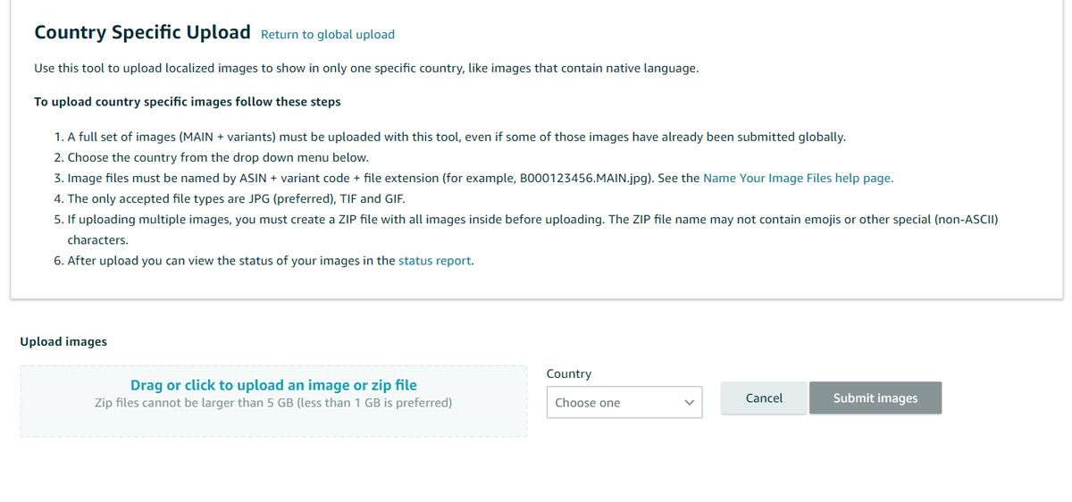 Amazon Country Specific Upload tool