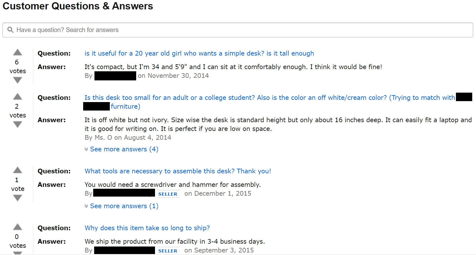 Amazon customer questions and answers