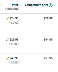 Dashboard with pricing set