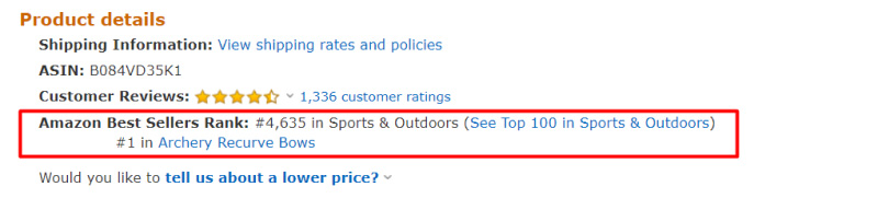 Amazon sales rank example for search query bow, first place in subcategory
