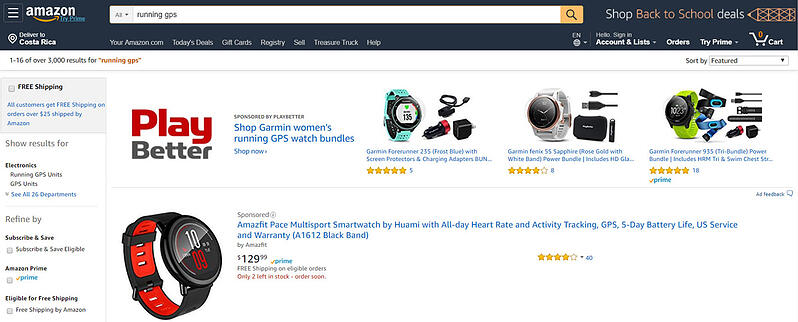 Amazon headline search ad for running watch