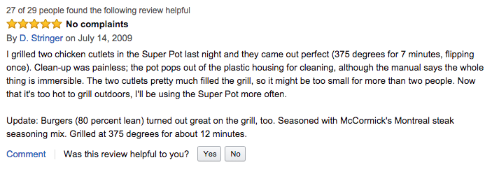 """Amazon review with """"Was this review helpful to you?"""" and buttons"""