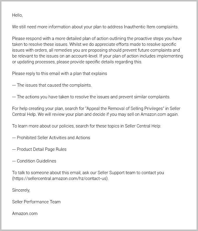 Email regarding inauthentic items on Amazon