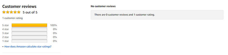 Example of a single one-tap review on a product listing with no comments