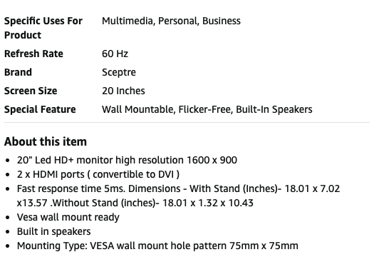 Product overview section on an Amazon product listing