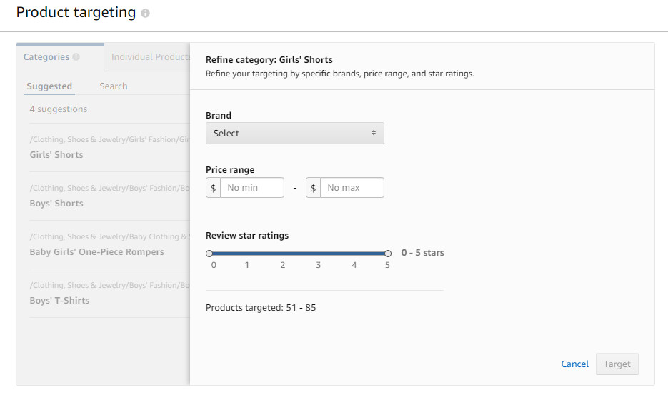 Refine category step for product targeting