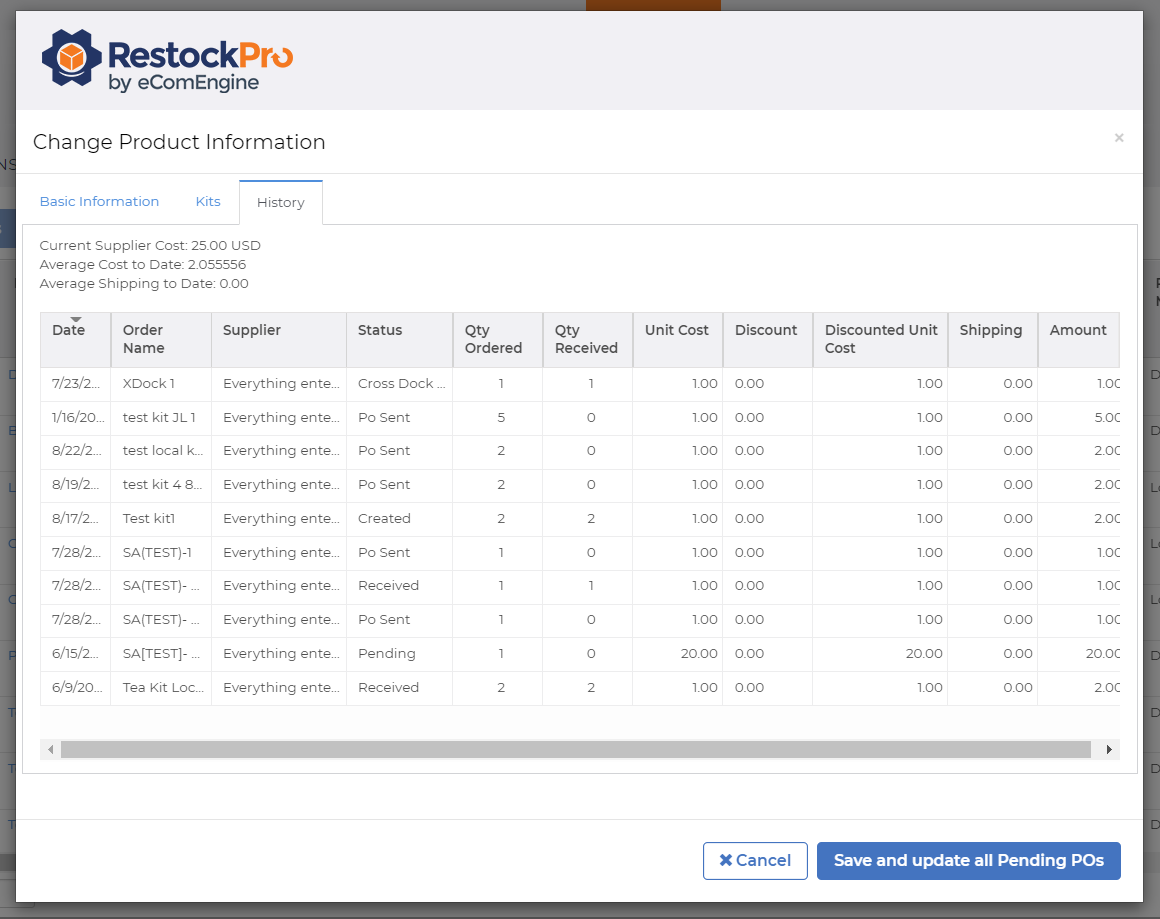 Product information history view in RestockPro