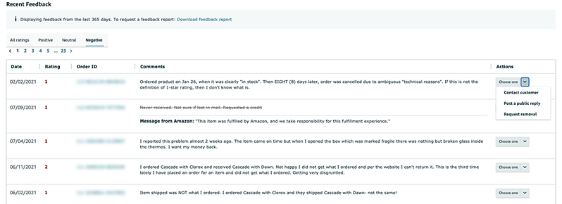 Recent feedback table on Feedback Manager page