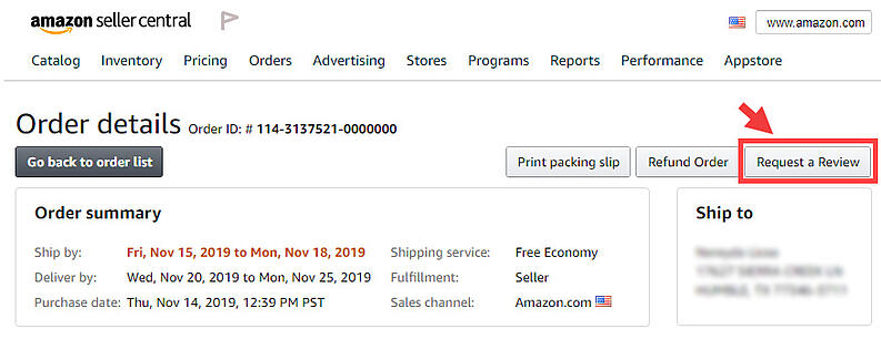Amazon request a review button in the order details page of Seller Central