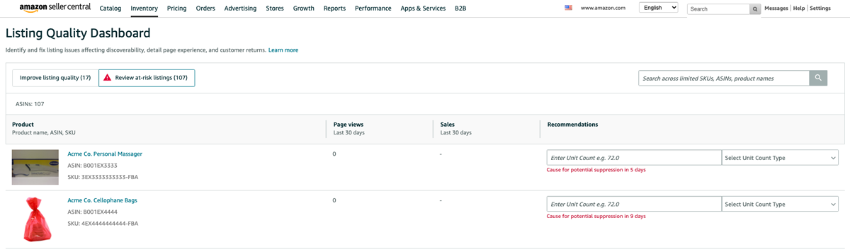 Review at-risk listings tab in the Amazon Listing Quality Dashboard