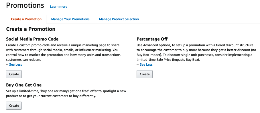 Promotions page in Amazon Seller Central