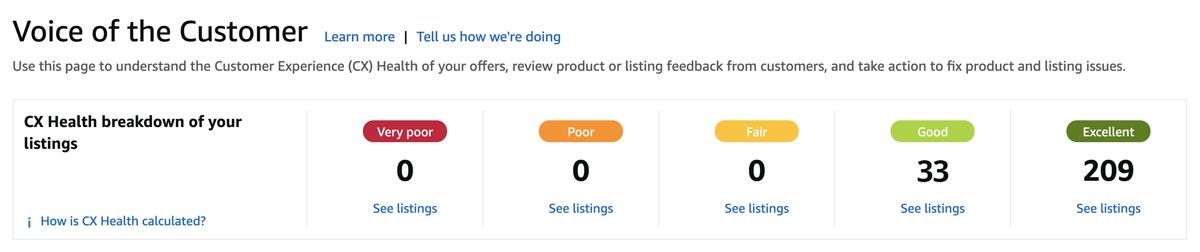 Voice of the Customer page in Amazon Seller Central