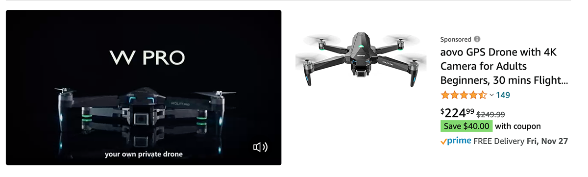 Snapshot of a sponsored brand video on Amazon for a drone