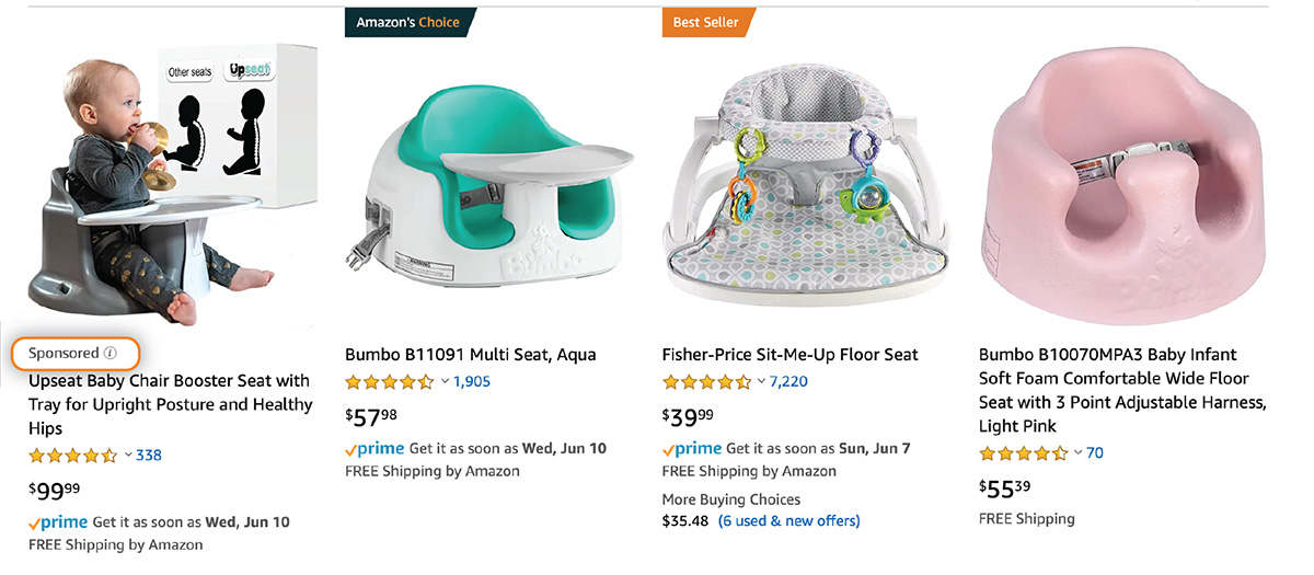 Sponsored product ad on Amazon for baby chair