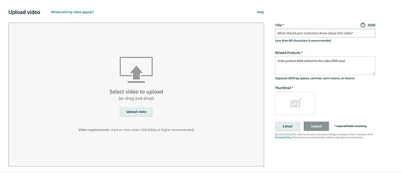 Screenshot of video upload page in Seller Central