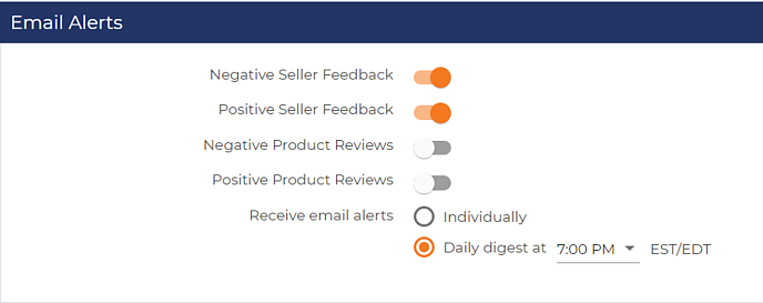 Feedback and review email alert settings in FeedbackFive