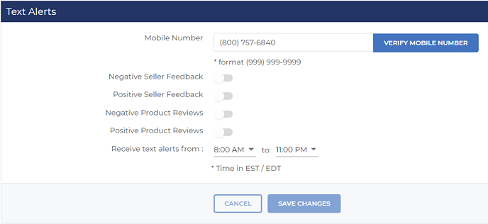 Feedback and review text alert settings in FeedbackFive