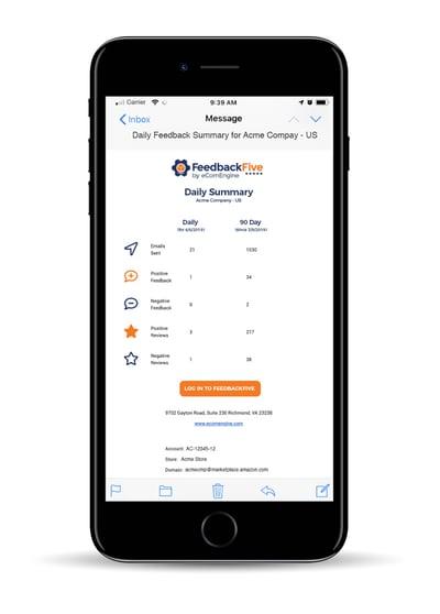 FeedbackFive Daily Summary on mobile device