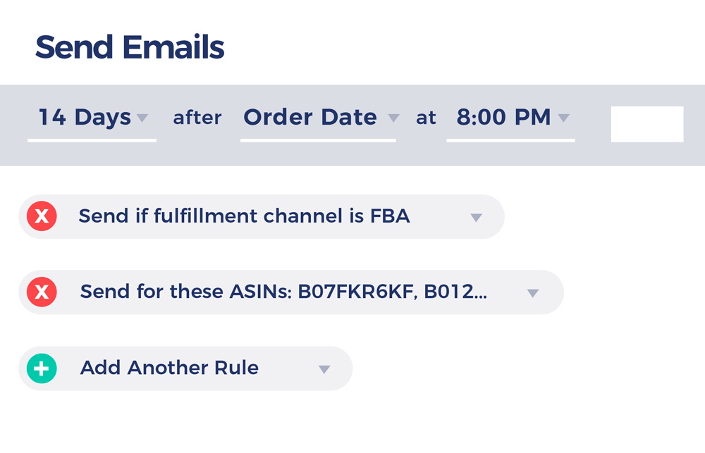 Email campaign rule builder