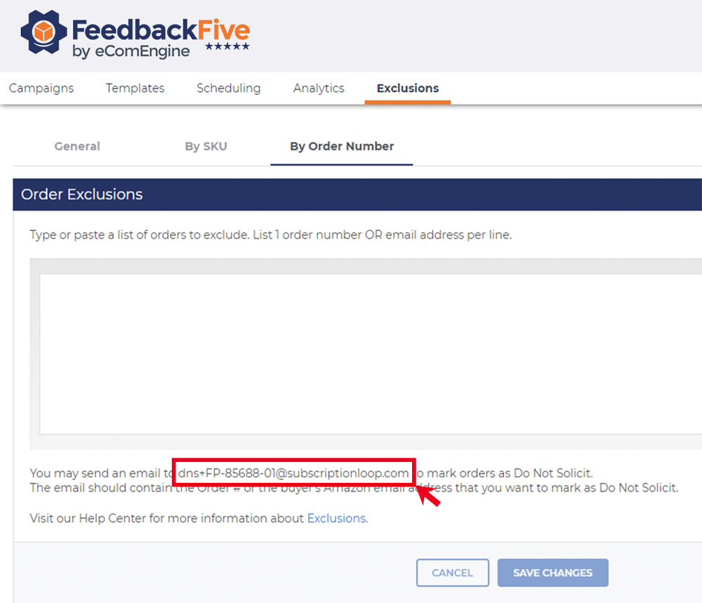 Email exclusions by order number in FeedbackFive