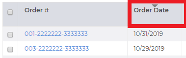 Box around the order date column on the Scheduling page in FeedbackFive