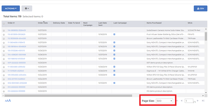 Box around the page size option on the Scheduling page in FeedbackFive