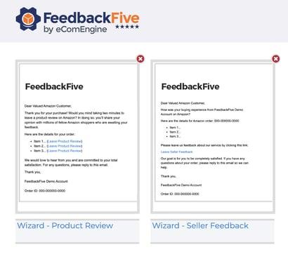 FeedbackFive wizard email templates