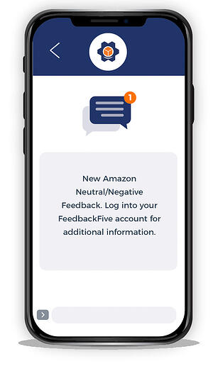 Negative feedback alert from FeedbackFive displayed on a smartphone